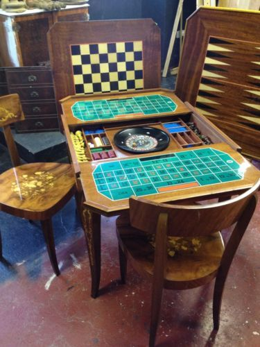#Metamorphic games #table with roulette #wheel, chess, card games, 4 chairs...,  View more on the LINK: 	http://www.zeppy.io/product/gb/2/162203906187/