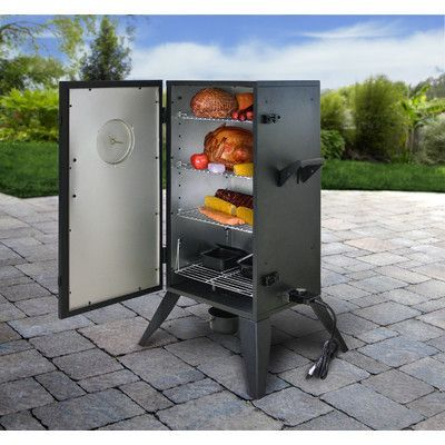 Features:  -Includes 1500-watt heating element with fully-adjustable and removable temperature control.  -Double-walled construction cabinet.  -Comes with 2 adjustable cooking grids and 1 fixed.  -Hig