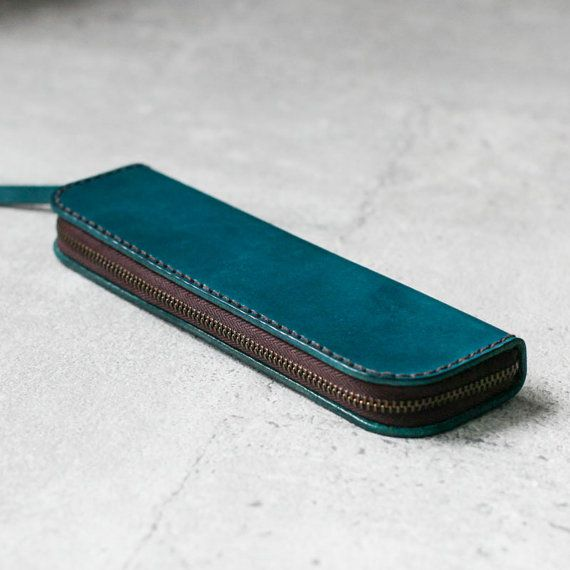 Teal blue classy cow hide Leather Pencil Case more here http://www.forthemanilove.com/earthy-leather.html
