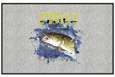 """First Strike Northern Pike - Freshwater Fish - Gray - Door and Welcome Mat by Express Yourself Mats. $24.88. Made in USA. Door Mat Size 27""""x18"""". Great Gift Idea!. Non-Skid Backing. Personalization Available (choose above) - EMAIL TEXT TO SELLER AFTER CHECKOUT. Enjoy the First Strike Northern Pike design heat pressed on this light-weight, low pile, woven polyester door mat. This decorative welcome mat measures 27 x 18 inches, is 1/8 inch thick and features a non-skid latex ..."""