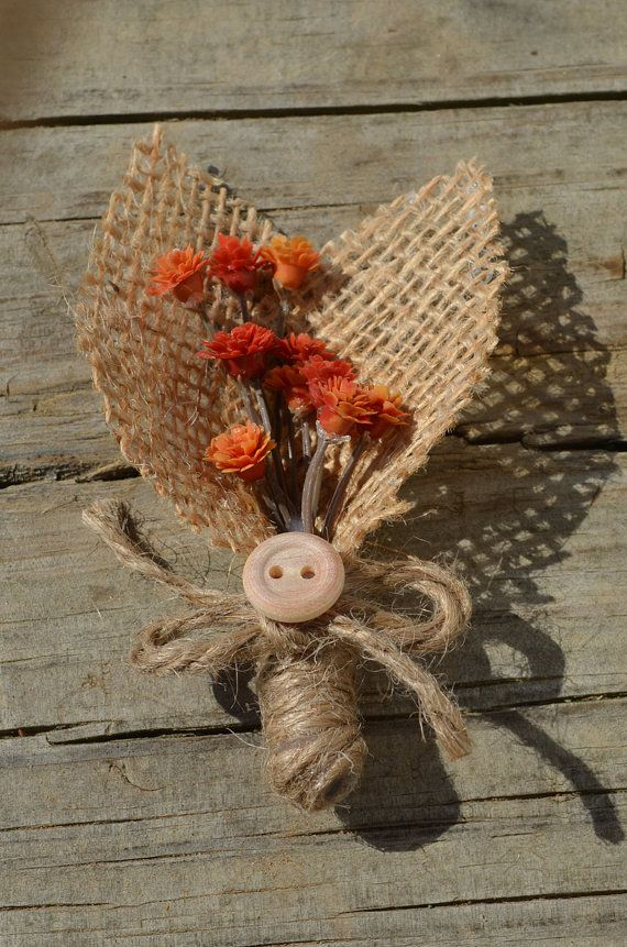 Rustic boutonniere orange flowers and burlap by SplendidEvents, $6.00