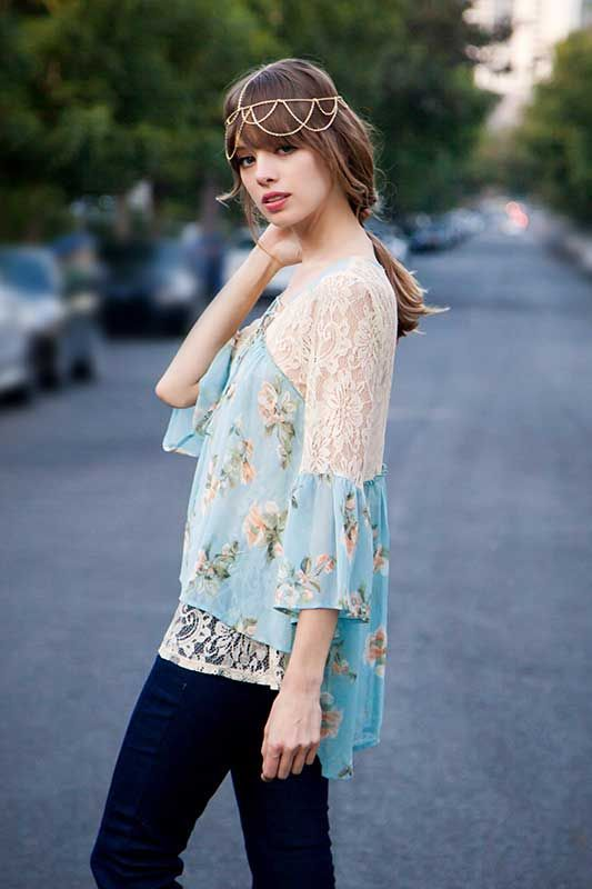 Ryu Clothing Floral Blouse with Three Quarter Sleeves RTA5026