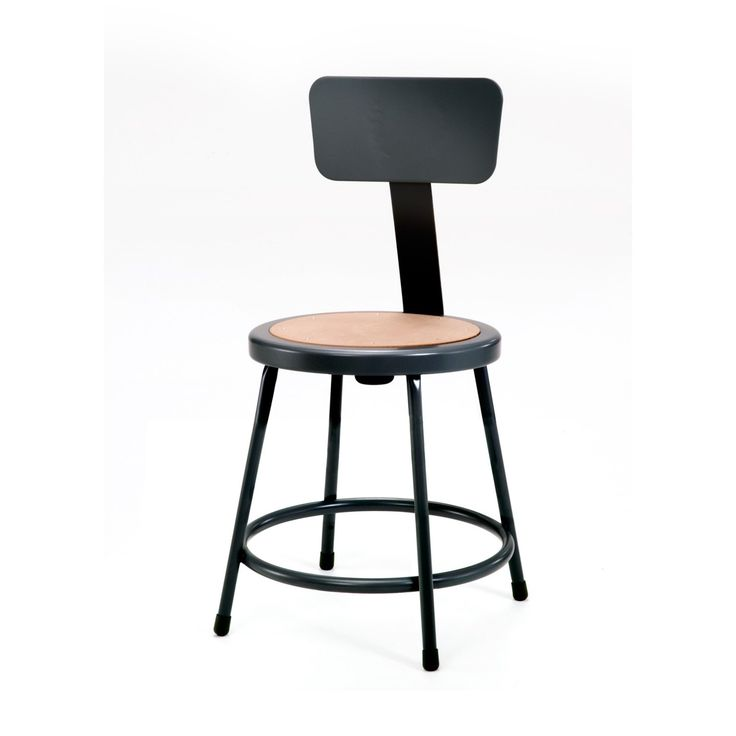 National Public Seating Black Stool with Backrest - 6218B-10