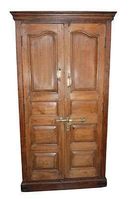 ANTIQUE ANGLO INDIAN CABINET RUSTIC TEAK WOOD ARMOIRE