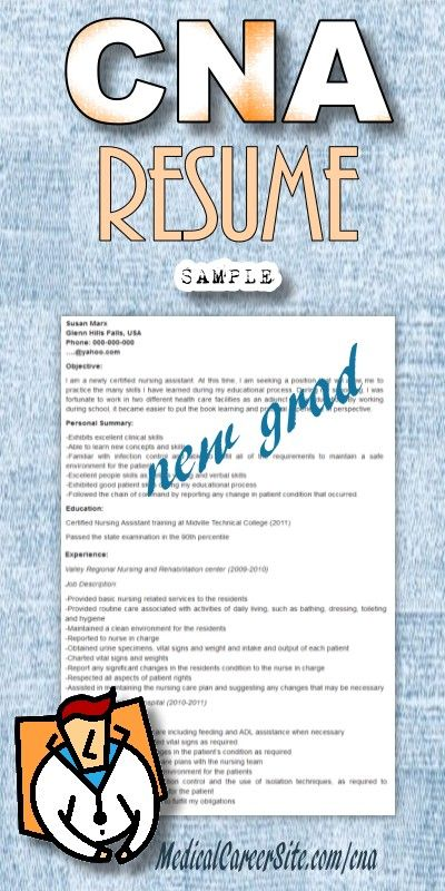 24 best Nursing Assistants-CNA images on Pinterest Nursing - sample resume for cna entry level