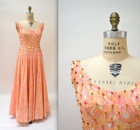 50s 60s Vintage Evening Gown Size Medium Large by Hookedonhoney