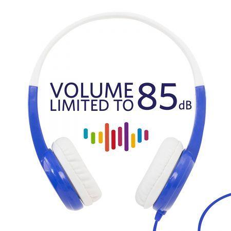 Casti Audio pentru Copii +3 ani cu volum limitat 85dB - BuddyPhones Standard Albastru