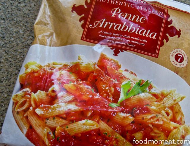 Trader Joe's Penne Arrabbiata. I fry up half a block of tofu, add the pasta mix, and dump in some heavy whipping cream for good measure. Healthy? Eh. Tasty? Totally.