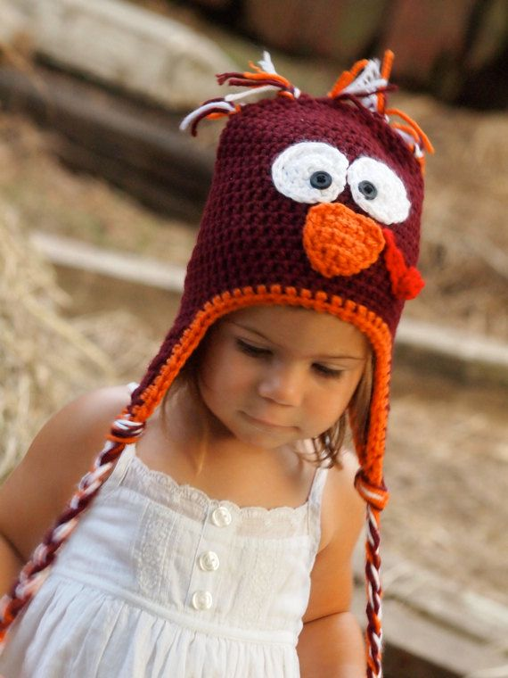 Turkey hat for children of all ages by CrochetingforCash on Etsy, $25.00  Go Hokies!  This is a must for Football season in our house!!!