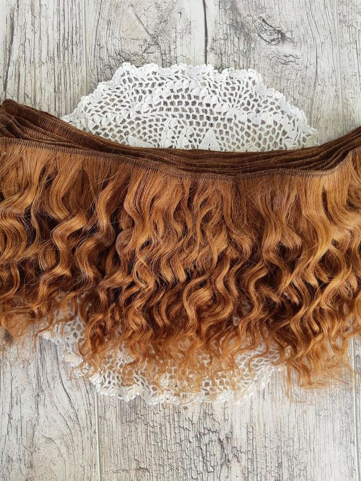 Weft doll hair mohair goat hair 1 m for waldorf doll wig custom Blythe wig natural Wool Doll Hair Caramel brown hair