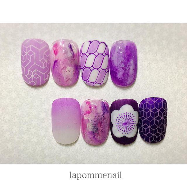 【lapomme_nail】さんのInstagramをピンしています。 《. . ムラサキの子たち ◡̈⃝ . . . 細い線をもっとほそーく描きたい ⍨⃝ . . . #nail#nails#jelnail#instanail#paintart#purple#sakura#ume#japan#japanesepattern#geometry#geometric#ネイル#手描きアート#和柄#和柄ネイル#紫#桜#梅#グラデーション#和#幾何学模様#幾何学ネイル#趣味#ニュアンスネイル》