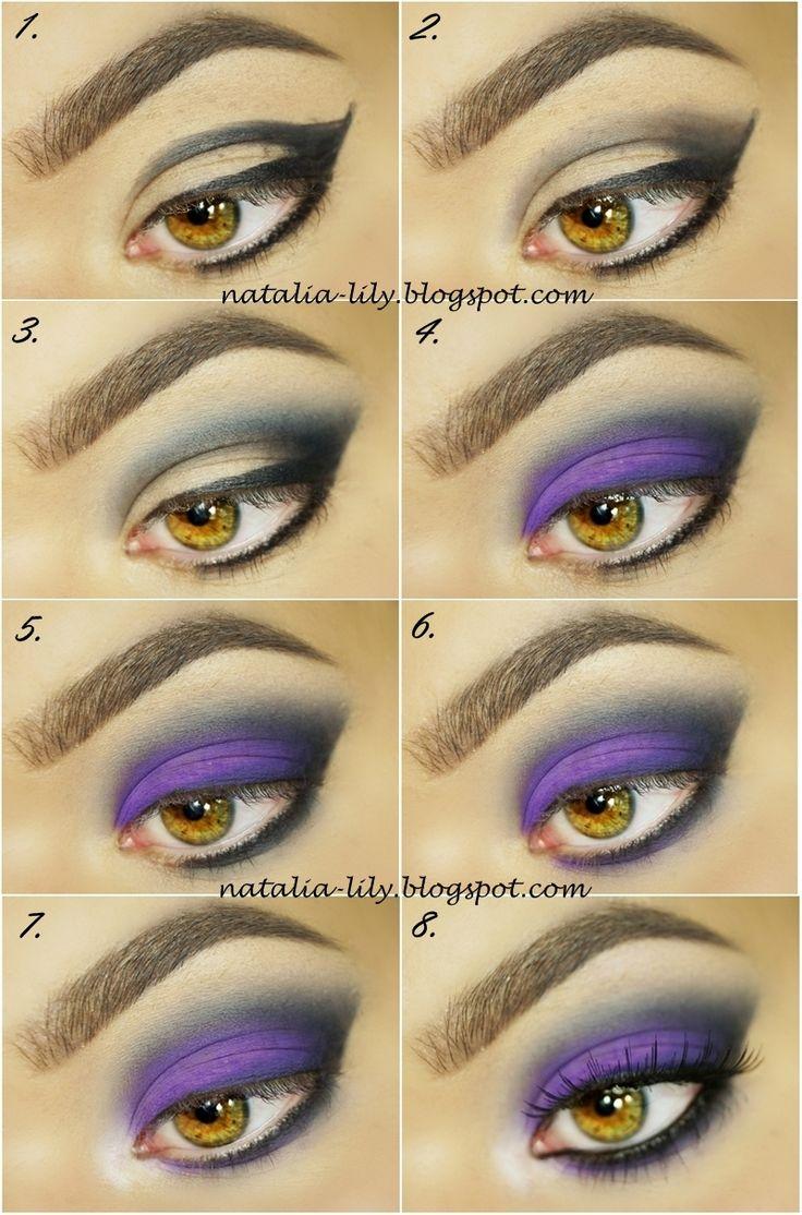 natalia-lily: Beauty Blog: Makijaż oka: Tajemniczy fiolet z czernią (krok po kroku) kosmetykami Pierre Rene i Miyo