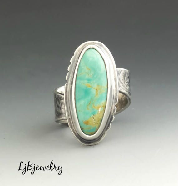 Turquoise Ring, Silver Ring, Statement Ring, Cocktail Ring, Metalsmith, Metalwork, Handmade, Sterling silver, Turquoise, artisan jewelry