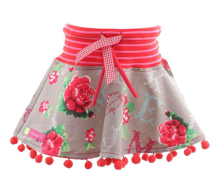 Kiezeltje rok flower beige/Meisje/Rok/Babykleding/Zoem Kidsfashion