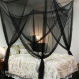 Generic Bed Netting Mosquito Net Four Corner Canopy Bedding (Black)