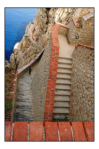 These are the zig zag steps for the descent down to The Neptune Grotto, in Sardegna, Alghero...It was pretty easy on the way down but on the way back up...whoah it was pretty exhausting..but worth it.