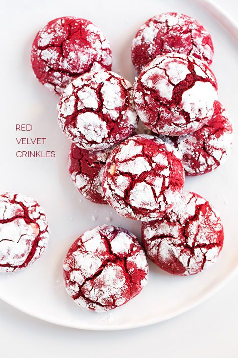 Red Velvet Crinkle Cookies - these are delicious! They're made from scratch and studded with white chocolate chips.