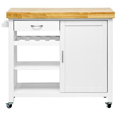 Denver Modern White Butcher Block Kitchen Cart Kitchen