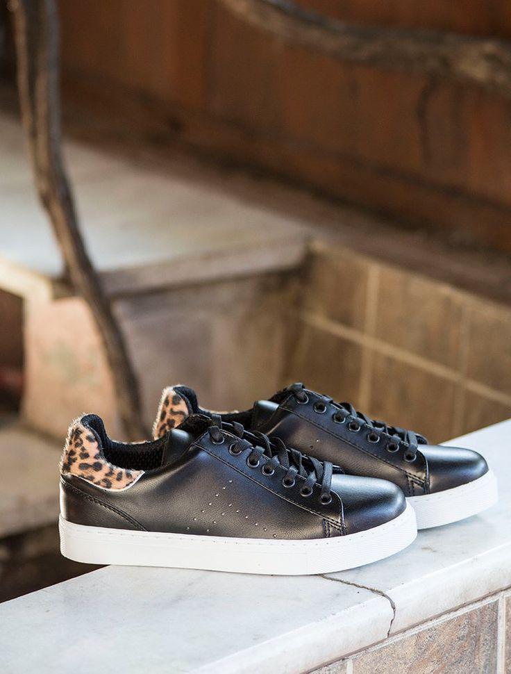 SPOR AYAKKABI Gabby Siyah Leopar Kombin Beyaz Taban Spor Ayakkabı
