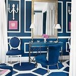 Domino Magazines Navy Blue And Pink Living Room