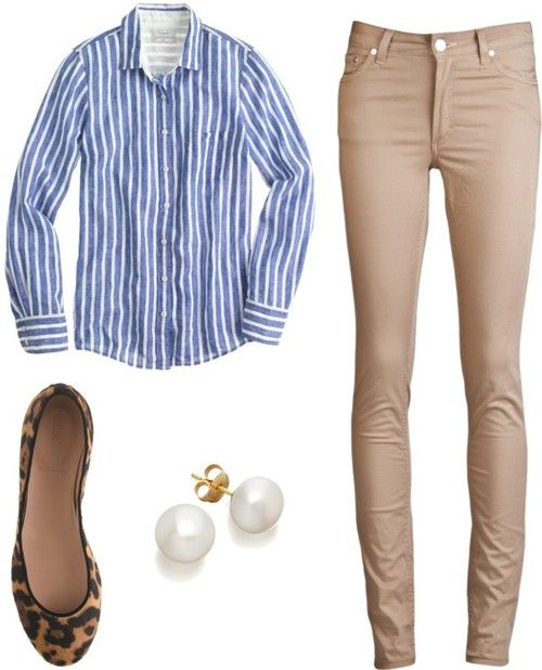 Spring casual wear- tan skinnies, blue striped blouse, leopard flats & pearls. <3