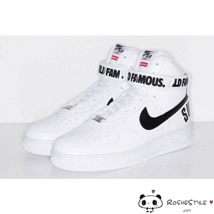 Nike AF1 Air Force 1 High X Supreme Hi SP Shoes Classical White Black Sneakers