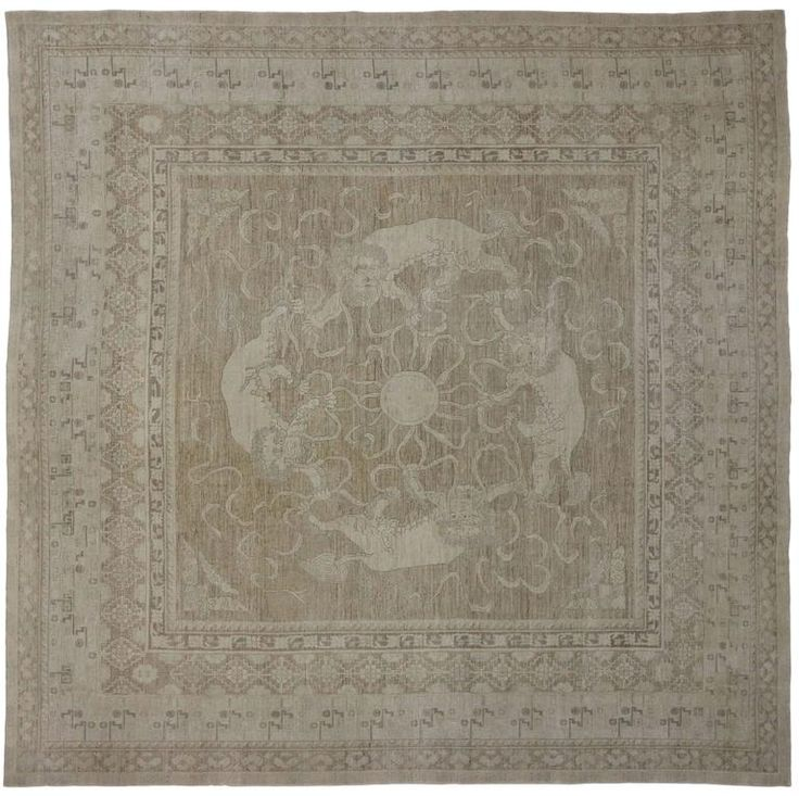 Transitional Style Rug with Khotan and Chinese Foo Dog Design, Square Rug | From a unique collection of antique and modern central asian rugs at https://www.1stdibs.com/furniture/rugs-carpets/central-asian-rugs/