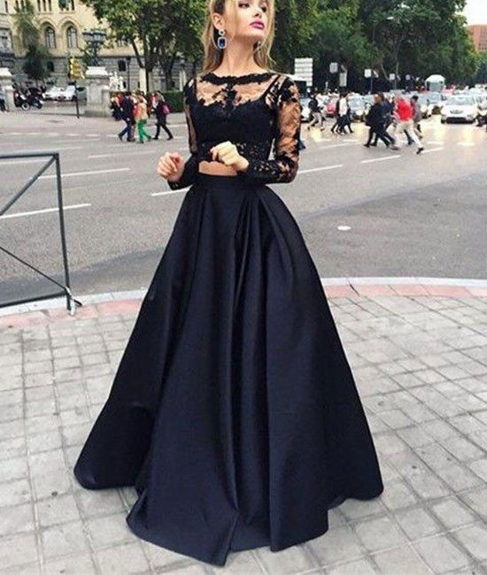 2017 New Arrival black two pieces lace long prom dress for teens, black evening dress