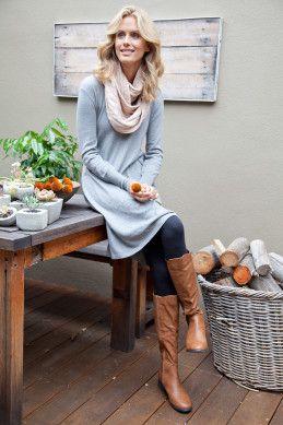 bird keepers The Cool Comfort Knit Dress - Grey - Womens Knee Length Dresses - Birdsnest