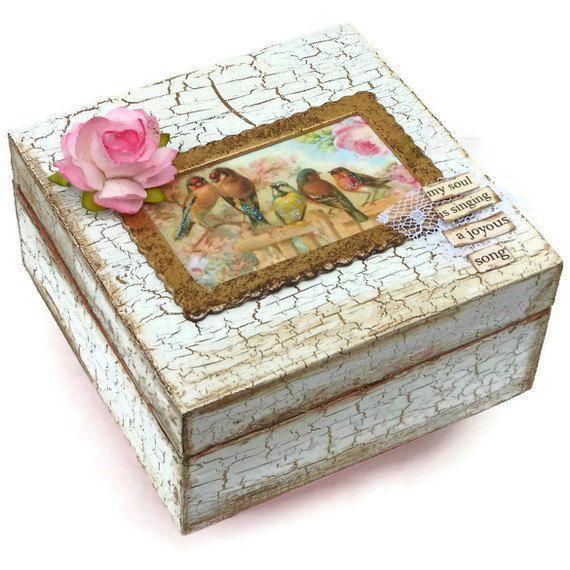 Lembrança Caixa de Jóias Caixa chique gasto do vintage