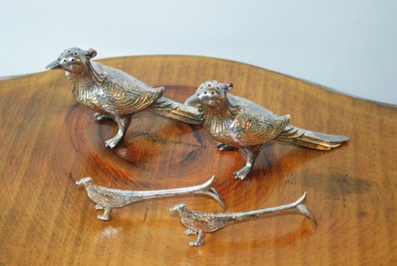 Check out this item in my Etsy shop https://www.etsy.com/ca/listing/475372737/silver-plate-salt-and-pepper-pheasant