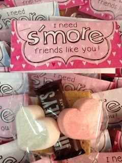 I need s'more friends like you~graham cracker, chocolate, and heart-shaped marshmallow peeps