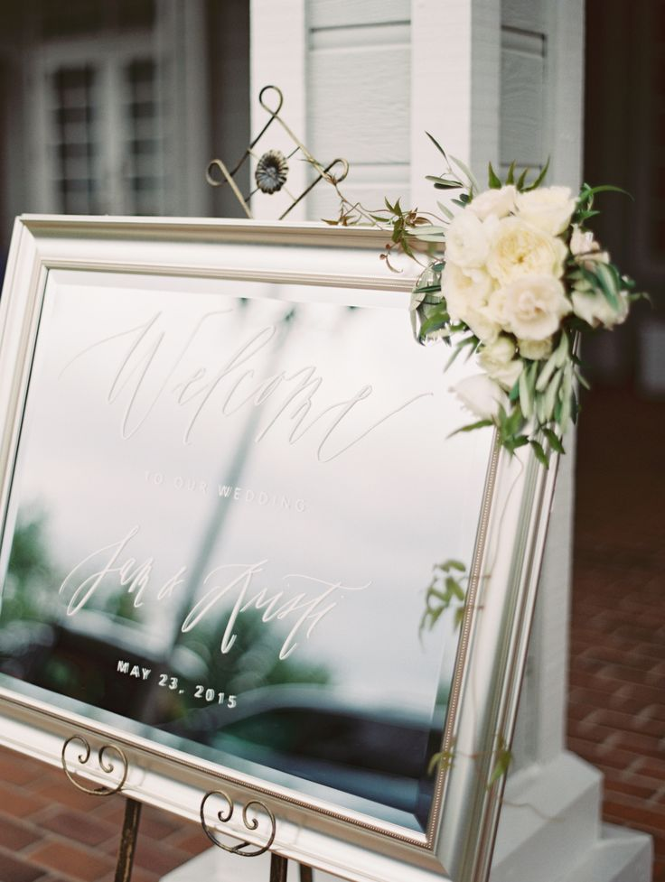 #welcome, #mirror Photography: esther sun photography - esthersunphoto.com Floral Design: Moments In Bloom - http://momentsinbloom.com Venue: Carmel Mountain Ranch Country Club - www.clubcmr.com