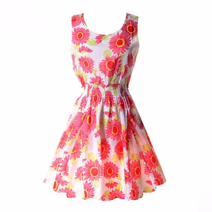 2017 21 Styles Women casual Bohemian floral leopard sleeveless vest printed beach chiffon dress