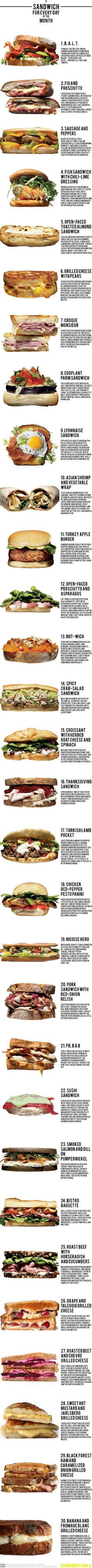"""A New Sandwich for Every Day of the Month"" by slowrobot. Sources: menshealth and chow: Each one yummy and just a little surprising!   #Infographic #Sandwiches"