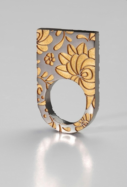 "Ring by Klára Abaffy. Oxidized Sterling and resin. From her ""Matyó"" collection that incorporate the traditional Hungarian Matyó embroidery style with modern appearance"