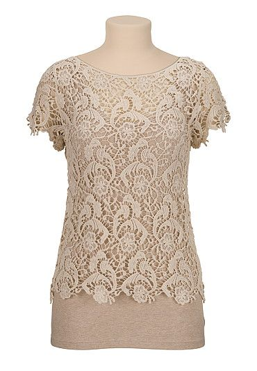 Cap sleeve Scalloped crochet tee (original price, $29) available at #Maurices