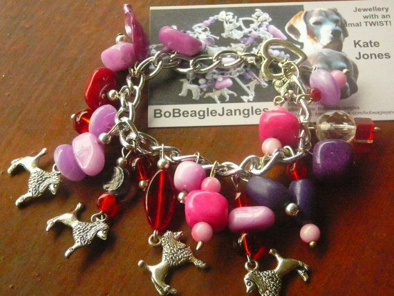 Dog breed charms, Poodle, standard poodle charms Pink, Red & Purple beads charm bracelet