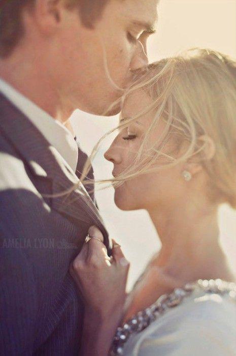 Wedding Picture Idea: Romantic embrace & forehead kiss