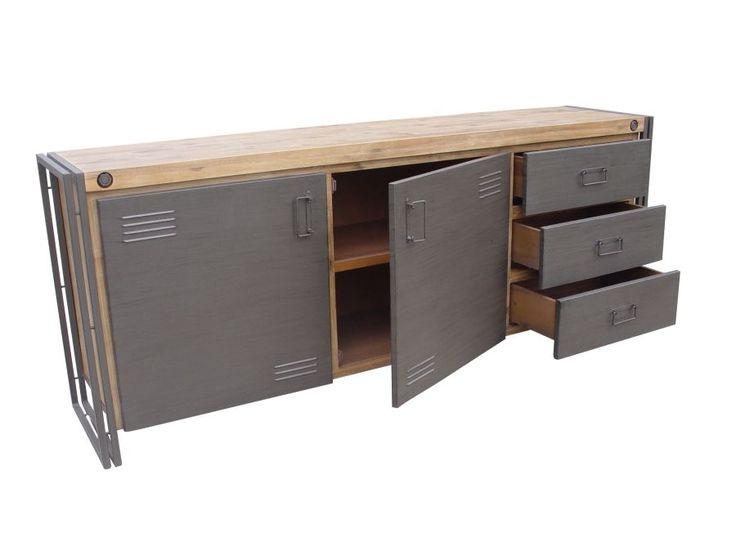 Industrieel, boekenkast, laden, acacia hout, staal, compleet woonkamerprogramma…