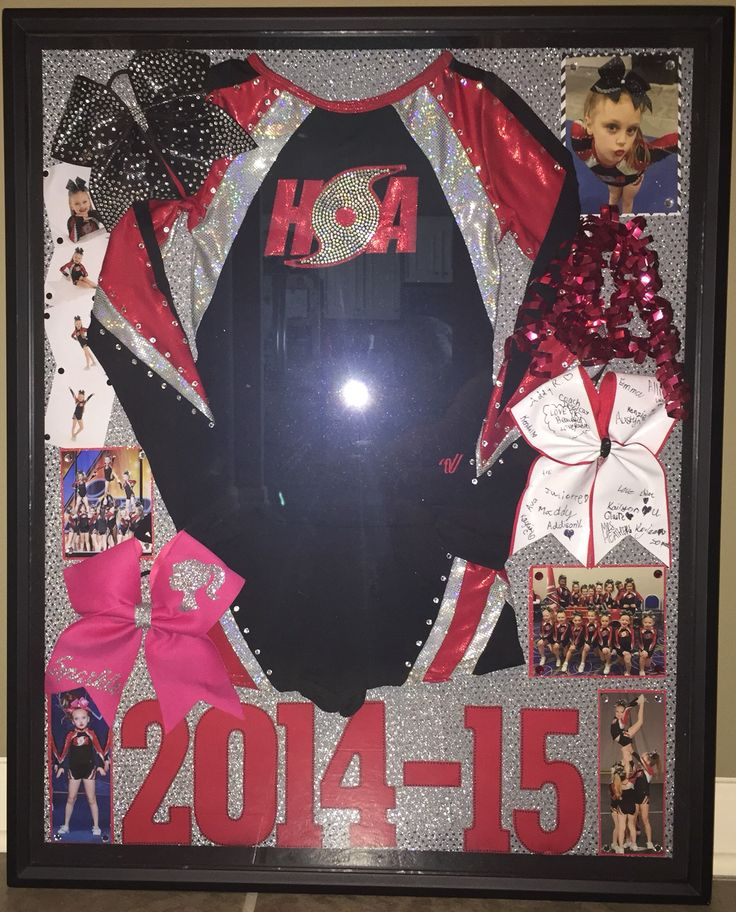 Cheer Shadow box - this was a great way to, not only display, but protect my daughters retired cheer uniforms.