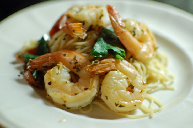 Angel Hair Pasta with Spinach, Shrimp, Tomatoes and Basil | The Teacher Cooks