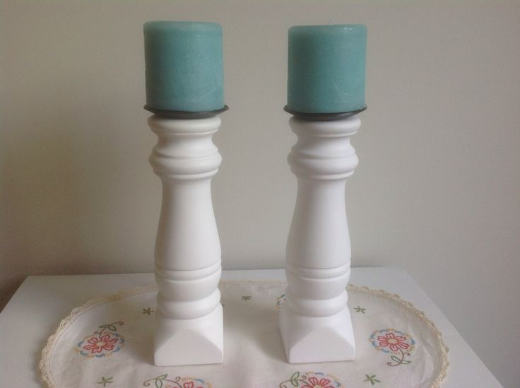 Pair wooden pre-loved candlesticks painted white with aqua candles. $17 SOLD