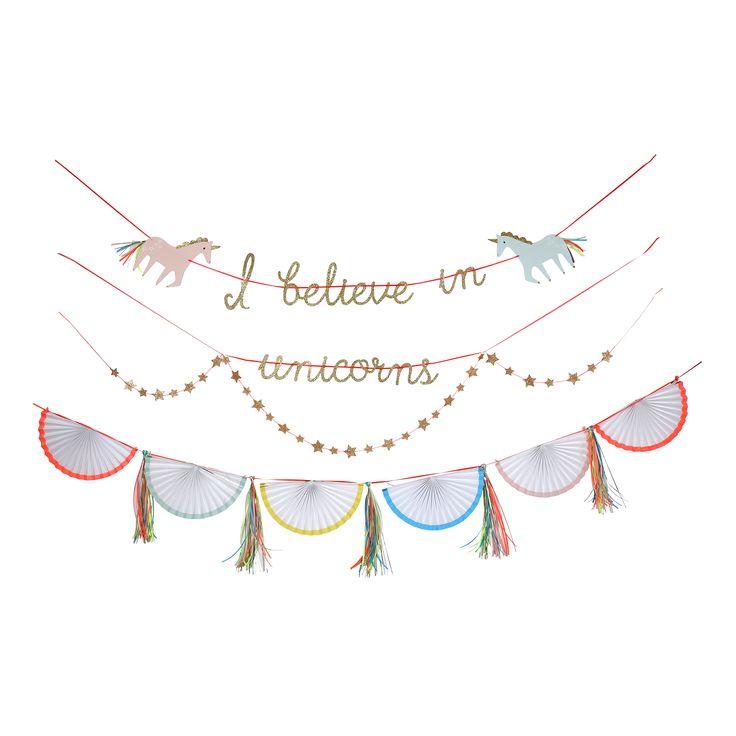 meri meri unicorn party garland for a special magic party add unicorns this stylish
