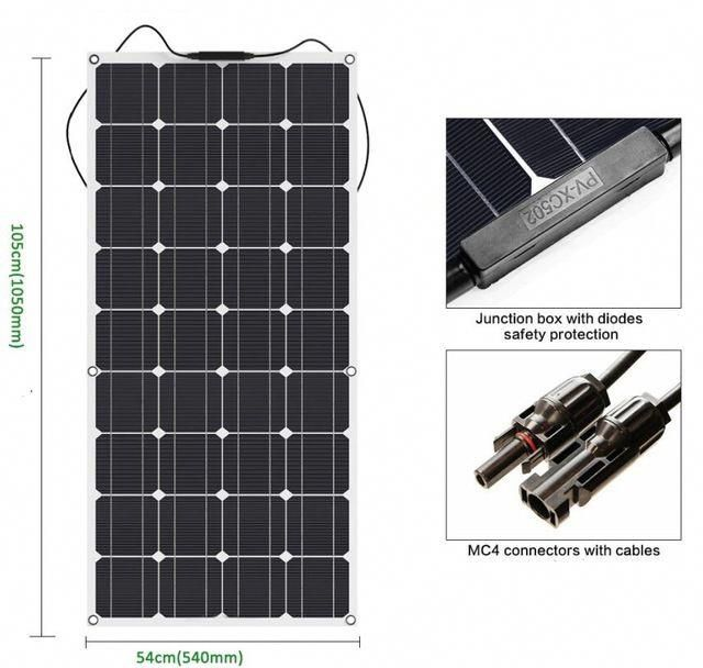 100w Flexible Solar Panel 12v Solar Cell Module System Car Marine Boat Battery Charger Led Sunpower Solar Technology Flexible Solar Panels Solar Energy Panels