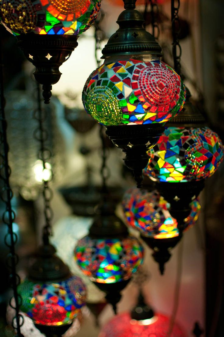 Colorful glass lanterns. So beautiful.