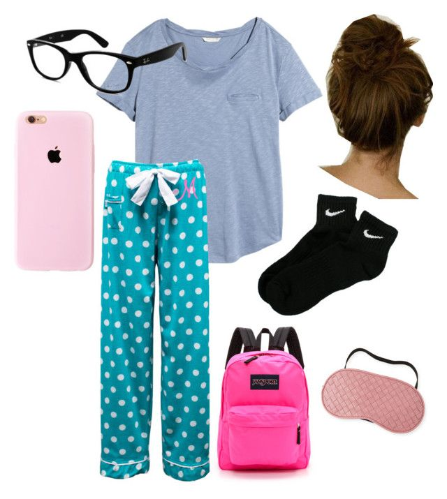 """""""PJ day at school!"""" by oliviakatemullis ❤ liked on Polyvore featuring interior, interiors, interior design, home, home decor, interior decorating, H&M, Ray-Ban, NIKE and JanSport"""