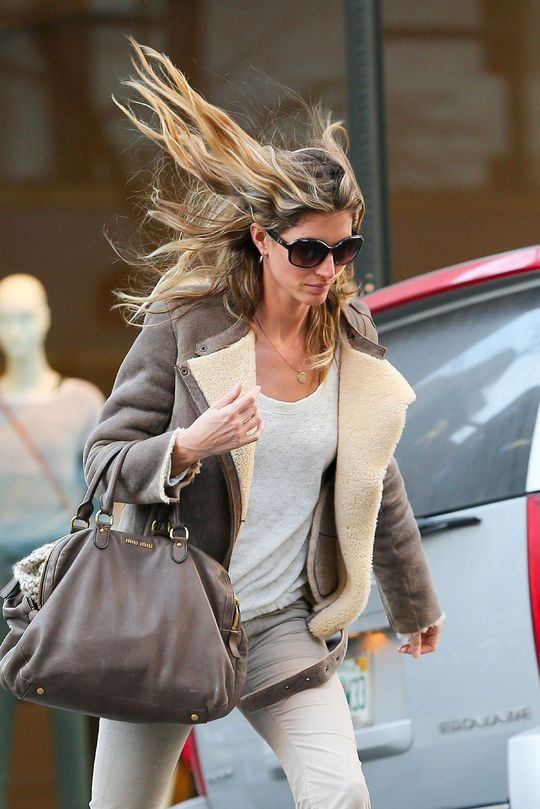 Gisele's hair blowing in the wind