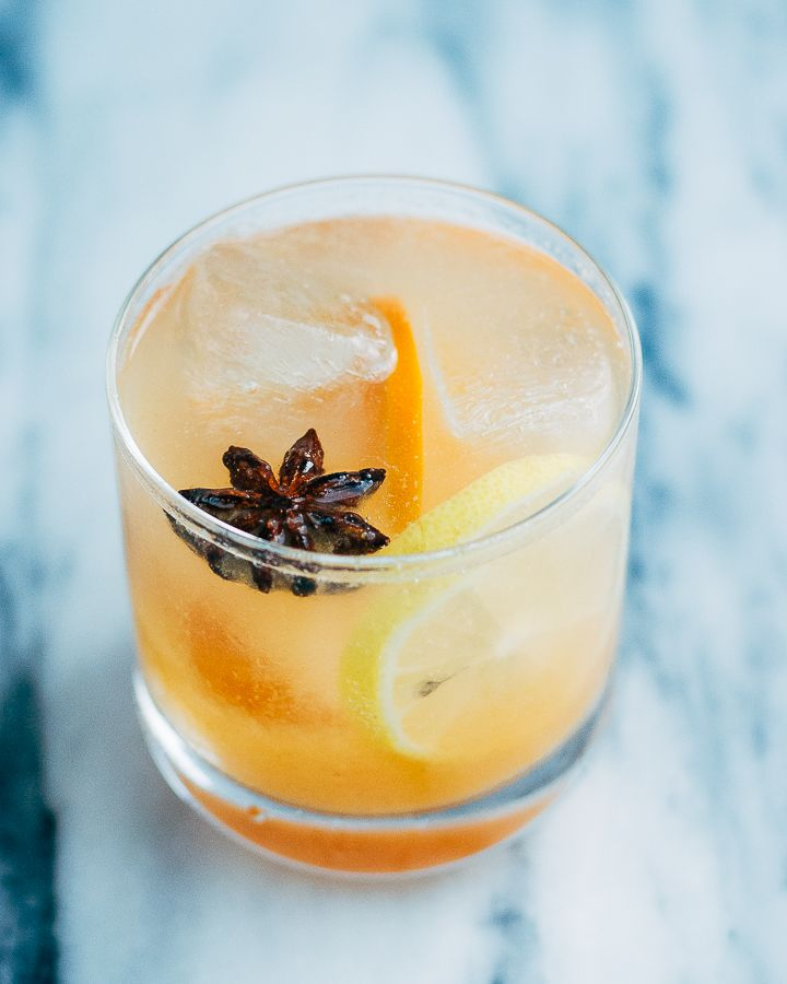 Persimmon collins cocktail