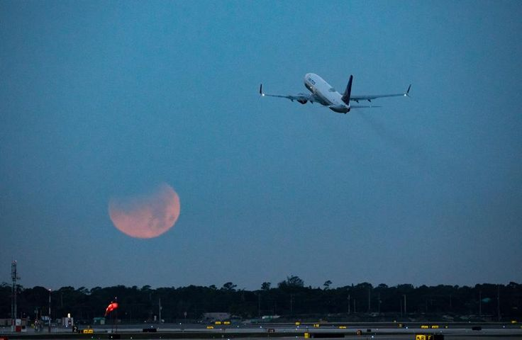 The super blue blood moon sinks below the horizon as an United Airlines plane rises in the sky from Palm Beach International Airport in West Palm Beach, Wednesday, January 31, 2018. (Greg Lovett / The Palm Beach Post)